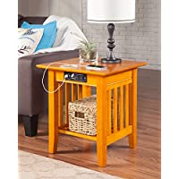 Atlantic Furniture AH14217 Mission End Table Rubberwood, Caramel Latte