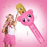 Wireless Karaoke Microphone for Kids,Yunbaoit Portable Karaoke Machine with Speaker,for iPhone,Android or Smartphone,Toys Gifts for Home KTV,Outdoor Party Music Playing Singing and Recording(Pink)