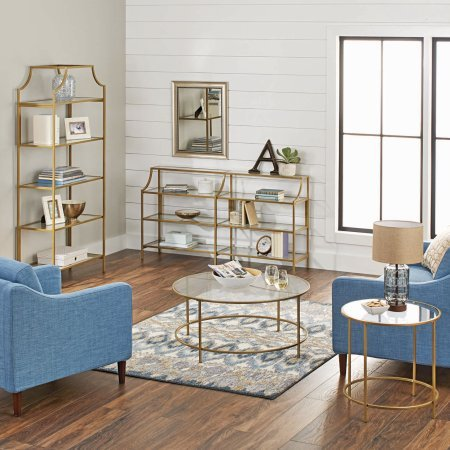 """Better Homes and Gardens Versatile Gold Finish Nola Console Table Features Safety-Tempered Glass and Metal Construction, Assembled Dimensions: 59.41"""" x 13.07"""" x 32.40"""""""