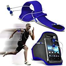 ONX3® ( Blue + Earphone ) Samsung Galaxy S5 Active Case Custom Made Sports Armbands Running Bike Cycling Gym Jogging Ridding Arm Band Case Cover With Premium Quality in Ear Buds Stereo Hands Free Headphones Headset with Built in Microphone Mic and On-Off Button