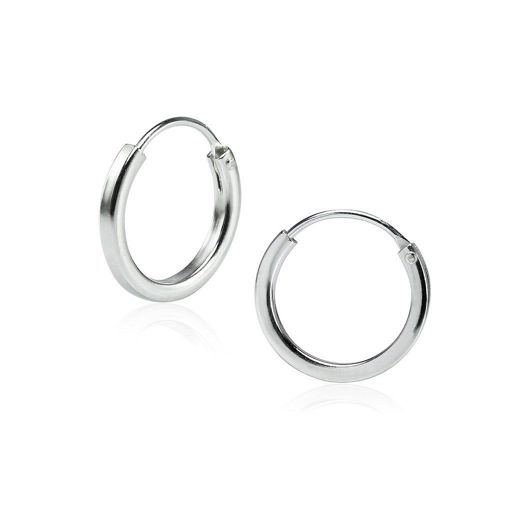 All Sizes Sterling Silver 1.5mm x 12mm Square Tube Endless Hoop Earrings Round Lightweight Unisex
