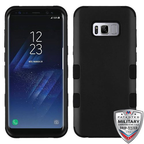 MyBat Cell Phone Case for Samsung Galaxy S8 Plus - Rubberized Black/Black