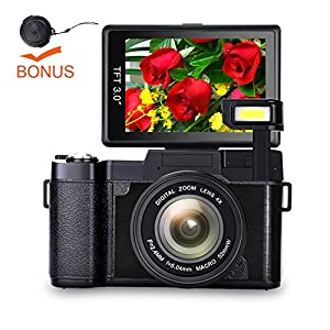 Digital Camera Vlog Camera Full HD 1080p Point and Shoot Camera Flip Screen Camera Flash light Camcorder with Lens Cap