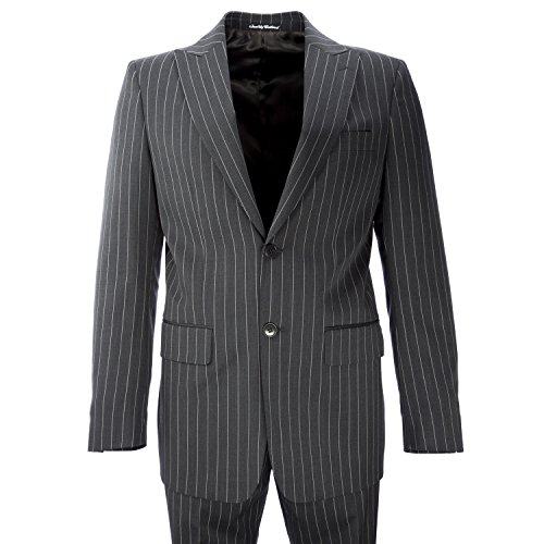 Facis Two-Piece Wool Blend Pinstripe Suit IT 46R Charcoal