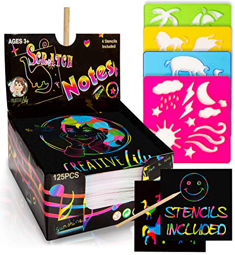 Creative Lily Scratch Art Notes 125 Count with 2 Wooden Stylus Pens and 4 Stencils - Rainbow Colored Mini Notepapers - Creative Fun for Kids and Adults