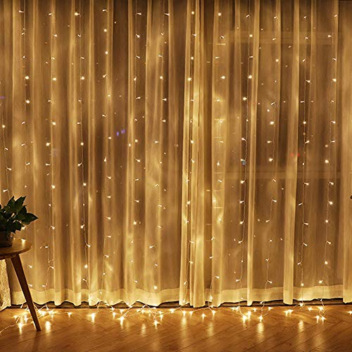 Twinkle Star 300 LED Window Curtain String Light for Christmas Wedding Party Home Garden Bedroom Outdoor Indoor Wall Decorations (Warm White)]()