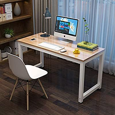 Computer Desk - Office Desk 47'' - Dining Table - PC Laptop Study Writing Table Workstation - Modern Study Rectangular Table - Corner Desk - Home Office and Professional Use - Metal White Natural -  - writing-desks, living-room-furniture, living-room - 513EJ7xXtQL. SS400  -