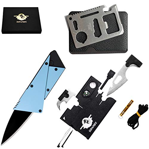 Credit Card Multitool Pocket Tool Kit Wallet Tool with Upgrade 18-IN-1 Credit Card Tool,11-IN-1 EDC Multitool Card,Folding Card Knife By I-LIFE (3 Kinds / set EDC Knife)