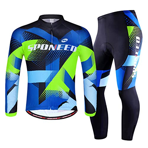 sponeed Bicycling Jersey Spinning Pants Set Riding Shirts Full Zipper Padding Leggings Suit Cycle Tops US L Multi