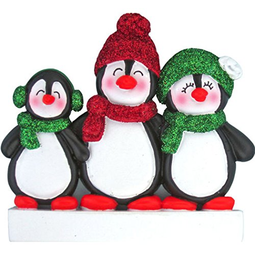 Personalized Friends Ornament - Personalized Penguin Family of 3 Christmas Tree Ornament 2019 - Happy Parents Children Friends Glitter Playful Hat Snow Cute Earmuffs Traditional Winter - Free Customization (Three)