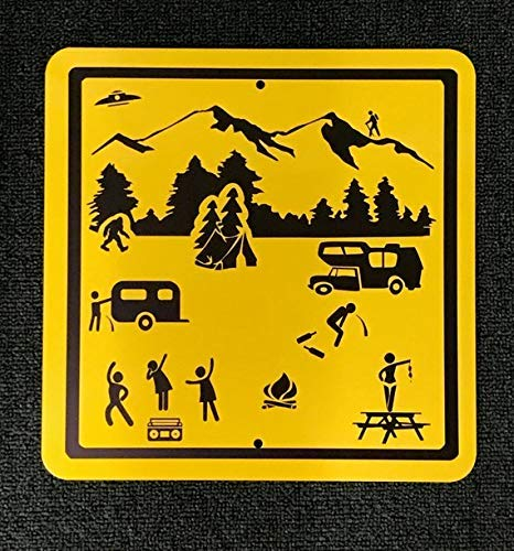 ACOVE Adventures Camping Stick Figure Camping Metal Sign 12x12 inch