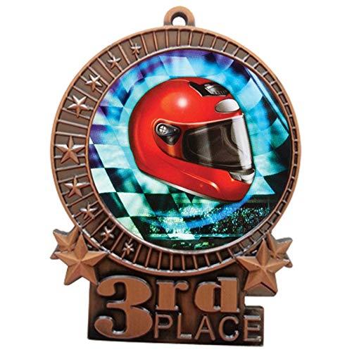 エクスプレスメダル 3インチ オートレーシング 3位メダル ブロンズレッド ホワイト & ブルー ネックリボン 賞 トロフィー XMDMY4 B07G7MQSX5  25