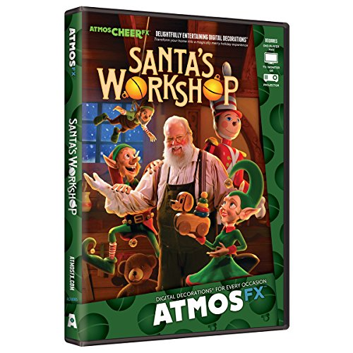 AtmosFX Santa's Workshop Digital Decorations DVD for Christmas Holiday Projection Decorating -