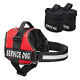 dog pack vest - Service Dog Harness With Detachable Backpacks & Patches, and Handle | Available In 7 Sizes From Small to Extra Large | Vest Features Reflective Patch and Comfortable Mesh Design From Industrial Puppy