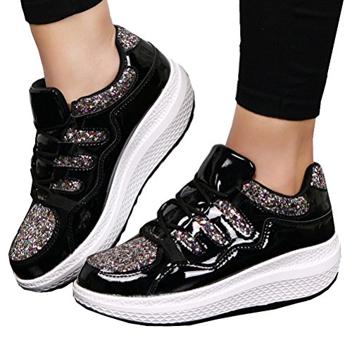 DADAWEN Sneakers Walking Black Fitness Comfort Sequin Platform Athletic Shoe up Lace Women's 0r8Rw0