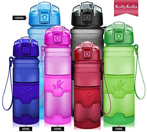 (KollyKolla Water Bottle BPA Free Tritan, Opens with 1-Click Flip Top Leak-Proof Lid, Kids Drinks Bottle, Reusable Water Bottles with Filter, for Sports, Outdoors, Gym, Yoga, (1L Matte Dark Red) )