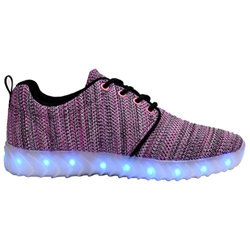 COODO LED leuchten Schuhe für Frauen Kinder Mädchen blinkende Glitter Turnschuhe (Kleinkind / Kind / Frauen) 3-Rosa