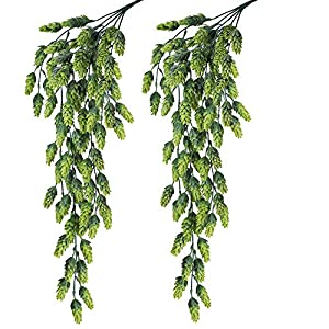"Supla 2 PCS Artificial Hops Flower Vine Garland Plant Fake Hanging Vine Hops Faux hops Artificial Hanging Plants in Frosted Green Each 29.5"" for Indoor Outdoor Front Porch Flower Decor Floral Greenery 15"