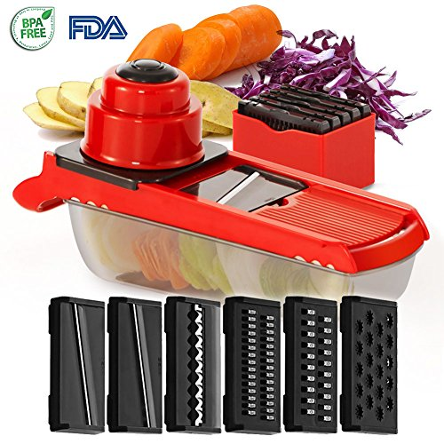 Mandoline Slicer - Kitchen Vegetable Slicer with 6 Interchangeable Stainless Steel Blades Food Fruit Julienne Slicer Cutter Chopper Grater Dishwasher Safe for Potatos Onions Zuchinni French Fries (Vegetable Chopper Slicer)