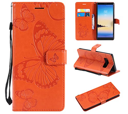 Price comparison product image Galaxy Note 8 Case, Galaxy Note 8 Wallet Case, Note 8 Case with Card Holders, Folio Flip PU Leather Butterfly Case Cover with Card Slots Kickstand Phone Case for Samsung Galaxy Note 8, Orange
