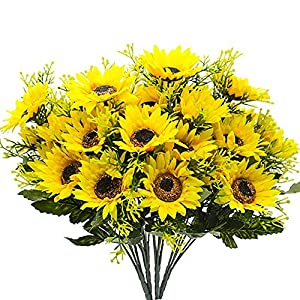 4 Branch 7 Heads Artificial Silk Fake Sunflowers for Home Bedroom Indoor Party Decoration Wedding Flowers Decor Bouquet (Yellow) 69