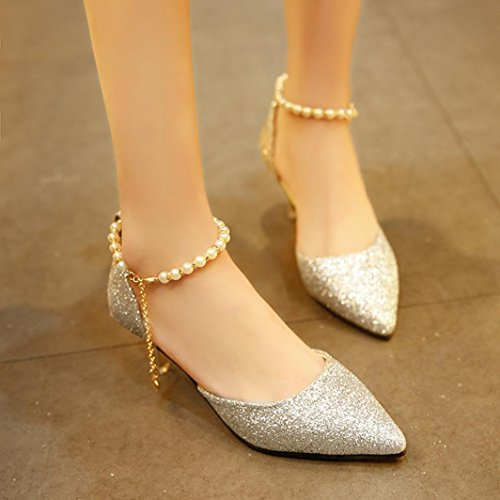 Hatop Womens Spring Casual Sequins String Bead High-Heeled Pumps Shoes Silver