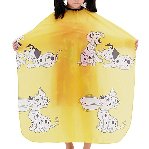 Colorfulife Child Hair Cutting Waterproof Cape Barber Kids Hair Styling Cloth with Snap Closure Professional Home Salon Hairdressing Wrap Cartoon Dalmatian Pattern B021 (Yellow (Cutting Cloth)