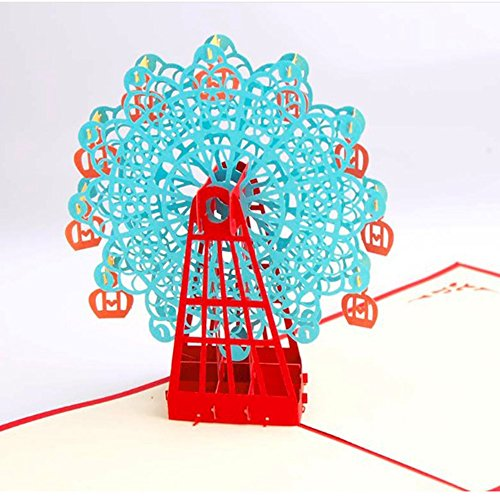 Party Invitation Greeting Card (3d cards pop up Ferris wheel Greeting Card 3d pop up Cards party invitations for birthday,wedding,thank you card,Invitation card, (Blue))
