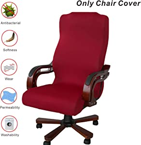 My Decor Office Chair Covers, Removable Cover Stretch Cushion Resilient Fabric Computer Chair/Desk Chair/Boss Chair/Rotating Chair/Executive Chair Cover, Large Size, Wine