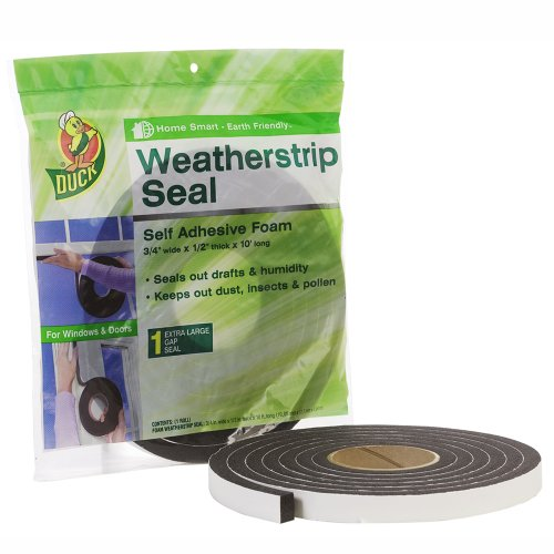 Duck Brand Self Adhesive Foam Weatherstrip Seal For Extra Large Gaps,  3/4 In X 1/2 In X 10 Ft, 1 Roll, 284426