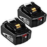 2 Pack 18V 6.0Ah BL1860B Battery Replacement for Makita 18V Battery BL1830 BL1850 BL1840 BL1850B BL1860 BL1845 BL1815 BL1820 LXT-400 18 Volt Cordless Power Tools Batteries