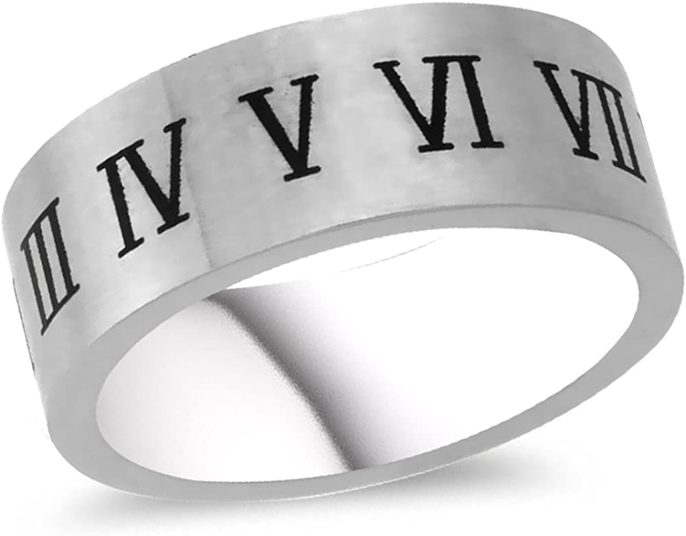 WorldJewels Roman Numerals Stainless Steel Wedding Band /& Rings