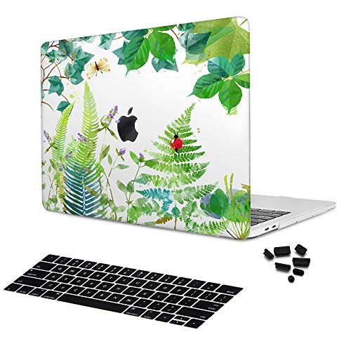 Batianda Garden Plants Flower Dragonfly Pattern Printed Crystal Hard Shell Cover with Keyboard Skin for New MacBook Pro 13 A1708 Released 2016 & 2017 No Touch Bar