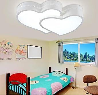 GQLB Il LEDStanza dei bambini luce da soffitto24WRagazzi e ragazze nella camera da letto principale è caldo e romantico a forma di cuore in camera matrimoniale bambini Princess lampada50*36*9cmIl tri-temperatura di coloreCheBianco [Classe di efficienza e