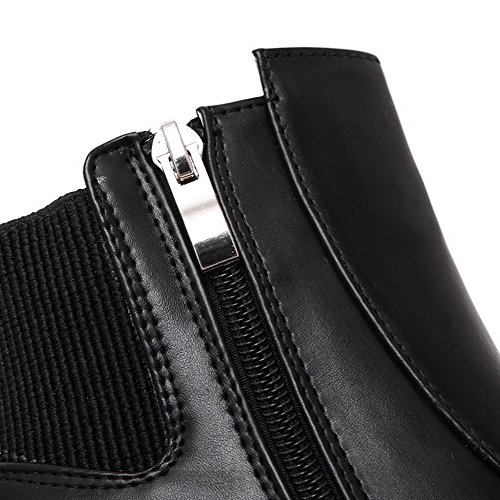 Assorted Low Top Color Heels High Round Black Boots Women's Closed AmoonyFashion Toe OY7g7q