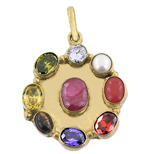 Jewels River Navratan Pendant With Complimentary Chain