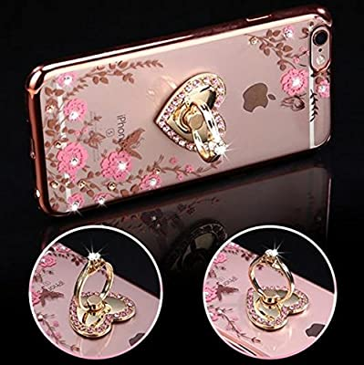 iPhone 7 Plus Floral Crystal TPU Case--Inspirationc Soft Slim Bling Plating Rubber Cover for iPhone 7 Plus 5.5 Inch with Rhinestone Diamond and Detachable 360 Ring Stand from Inspirationc