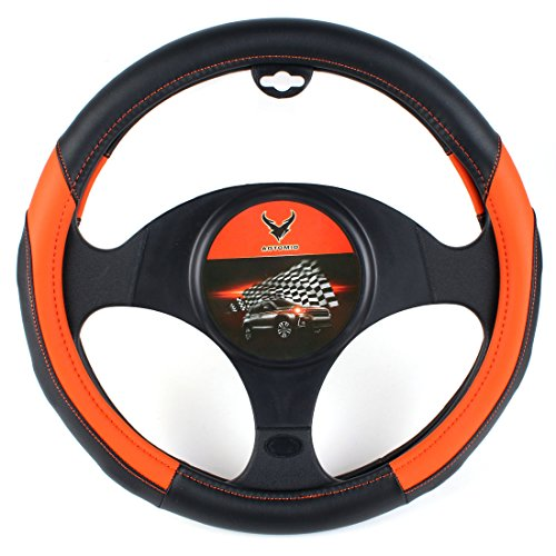 (AOTOMIO Black & Orange Car Steering Wheel Cover TPE Material Durable Non-slip Cover Universal 15 inch)