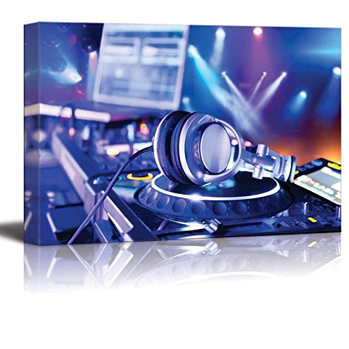 Canvas Prints Wall Art - Dj Mixer with Headphones at Nightclub | Modern Wall Decor/Home Decor Stretched Gallery Wraps Giclee Print & Wood Framed. Ready to Hang - 16