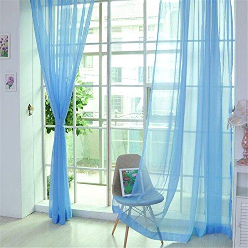 Honel カーテン ウィンドウスクリーニング リビングルーム ファッション 寝室装飾 薄手 カーテン 装飾 窓 部屋 オシャレ ブルー