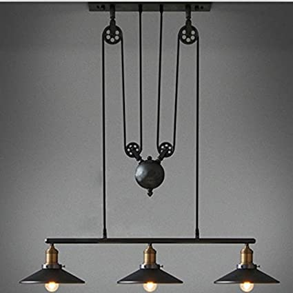 WINSOON Industrial Vintage Chandeliers Pulley 3 Light Pendant Lighting  Fixture For Pool Table Farmhouse Kitchen Island