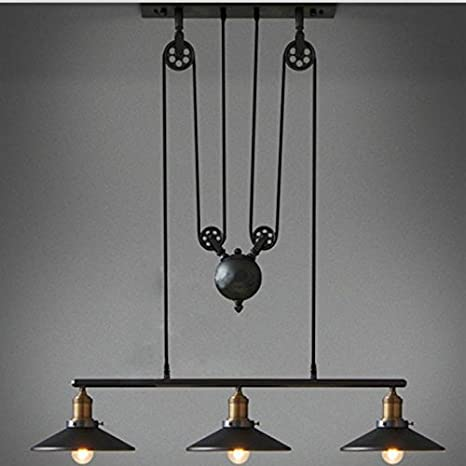 Vintage industriales Candelabros Pulley 3 Light Lámpara de ...