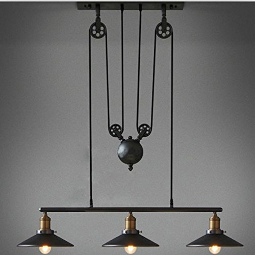 WINSOON Industrial Vintage Chandeliers Pulley 3 Light Pendant lighting Fixture for Pool Table Farmhouse Kitchen Island Bar Retro Hanging Lamp 3 Heads Black ()