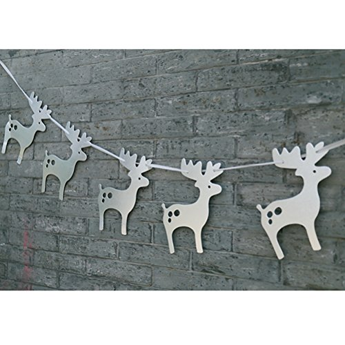 ULTNICE 3m Paper Moose Deer Pattern Bunting Banners Garlands Party Supplies Christmas Birthday Decoration
