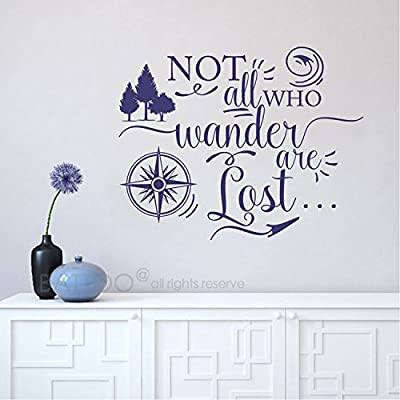 BATTOO Not all who wander are lost, Travel Wall Saying, Compass Wall Decal, Vinyl Lettering, Urban Decor Wall Art Sticker