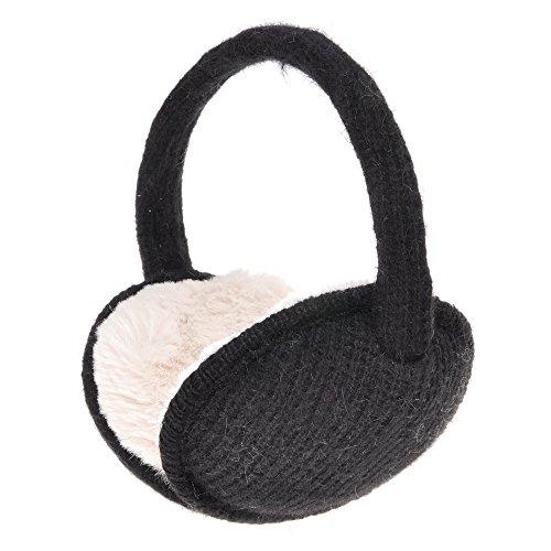 ZLYC Womens Girls Winter Warm Adjustable Knitted Ear Warmers Foldable Earmuffs, Black