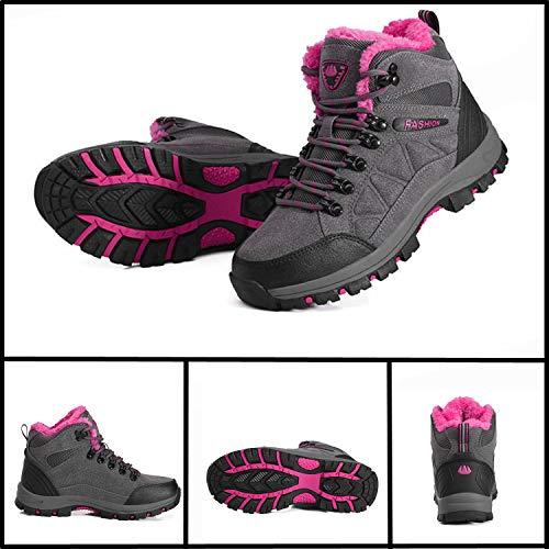 Damen Hiking Winterschuhe 45 pink Herren Trekking Outdoor 35 Boots Grau Wanderschuhe FOGOIN Warm Wasserdicht Winter Gefüttert vOxPWF