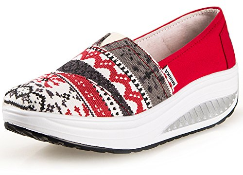 Ausom Women's Slip-On Canvas Casual Platform Wedges Toning Shoes Walking Fitness Work Out Sneaker Red