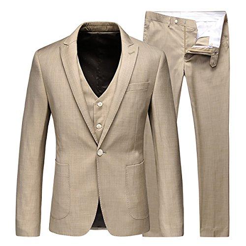 Hommes Yffushi 3 Pièce Un Bouton Sarclage Image Robe Occasionnels Amincissent Couleur 2