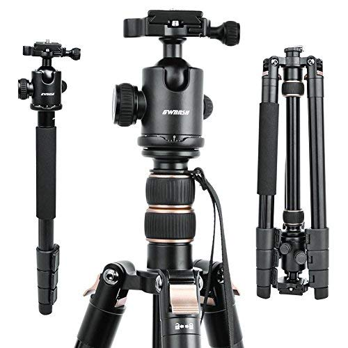 GWNNSH 66'' DSLR Tripod for Camera, 360 Camera tripod Ball Head, Compact Travel Tripod  Monopod with Level, Nikon Canon Sony Tripod stand